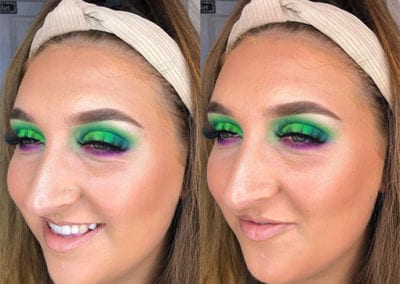 Green and Purple Neon Festival Makeup by Glow in Saltash and Plymouth